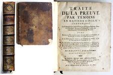 TRAITE DE LA PREUVE PAR TEMOINS EN MATIERE CIVILE, Jean BOICEAU 1737, DROIT