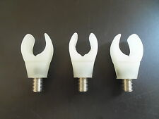 3 x Flexi Rubber Cup Rod butt rests. Coarse / carp / Pike fishing. White
