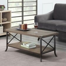 Coffee Table Farmhouse 2 Tier Driftwood Wood Brown Metal Vintage Rustic Style