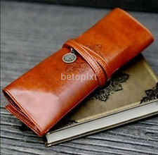 Retro Vintage Pencil Pen Case Cosmetic Pouch Brush Holder Leather Makeup Bag fr