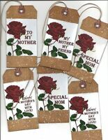 12 PRIMITIVE TAGS~HAPPY MOTHER'S DAY~GRUNGY HANG TAGS~GIFT TAGS~PRIM