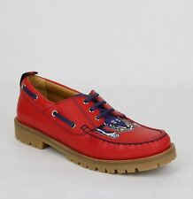 Gucci Boy Children's Red Leather Loafer w/Blue Animal Print 455436 6573