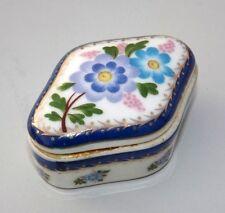 Vintage Unique Shape Porcelain / Ceramic Pill Box Old Flower Design Penny Box