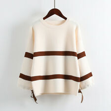Women Ladies Round Neck Sweater Striped Casual Winter Knitted Warm Tops Fashion