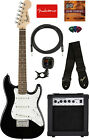 Fender Squier Mini Strat Electric Guitar - Black w/ Amplifier for sale