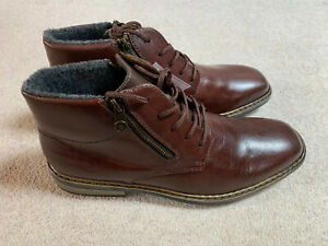Rieker Twin Zip F1233 men's lace up boots in brown - size 9.5 - new