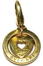"ITALY BVLGARI 18K YELLOW GOLD TONDO HEART CLIP ON CHARM FOR BRACELET 1 1/8"""