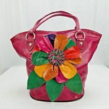 Handcrafted Leather Shoulder Bag Tote Purse Handbag Pink Flowers Flower