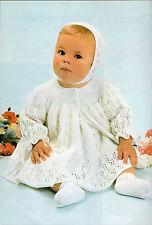 Baby Knitting Pattern copy 3 Ply Feathersoft Dress Matinee Jacket Bonnet Bootees