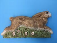 """Vintage Brown Bunny In Grass With Small Pink Flowers 8.5"""" X 4.25"""" Felt Bottom"""