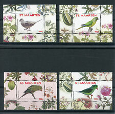 St Maarten 2016 MNH Birds 4 x 1v S/S 1-4 Parrots Pigeons Vogels Stamps