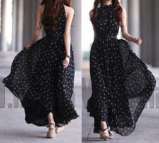 Women Long Maxi Polka Dot Print Sleeveless Dress Casual Belt Gown Evening Party