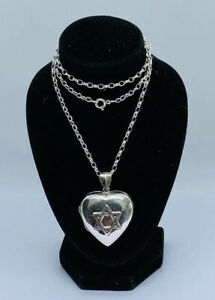 Beautiful Vintage 925 Sterling Silver Necklace With Heart Locket 15.62g