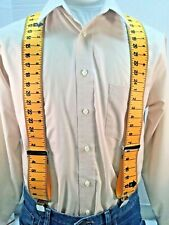 "New, Men's,Yellow Measuring Tape, XL, 2"", Adj., Suspenders / Braces, Made in USA"