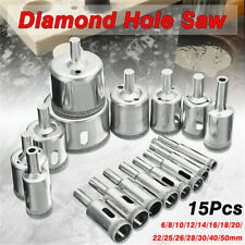 15pcs Diamond Drill Bit Hole Saw Cutting Tool Set for Glass Ceramic Marble Tile