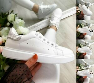 Ladies White Flat Trainers Women Lace Up Retro Sneakers Comfy Gym Pumps Shoes