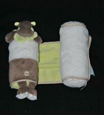 Peluche doudou hippopotame Bazile cale bébé BABY'NAT scratch vert feuille TTBE