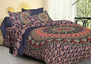 Indian Blue Hippie Elephant Mandala Bedding King Size Bed Sheet & 2 Pillow Cover