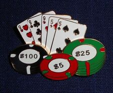 New Las Vegas Gambling Pin with Cards & Chips