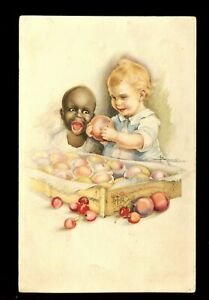 OLD POSTCARD BLACK AMERICANA BLACK AND WHITE BABIES SIGNED ARTIST 1910