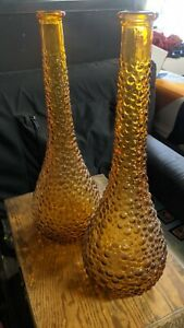vintage bubble glass vase Tall Amber