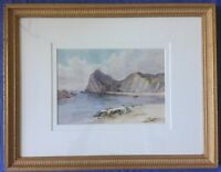 English School Watercolour Costal Scene Indistinctly Signed Painting Picture