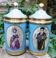 Rarissime Pharmacy Jars Couple Pots à Pharmacie Caducée Vieux-Paris Porcelaine
