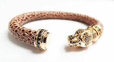 Designer Fashion Italian leather Panther Leopard Bangle Bracelet 18K Gold .925