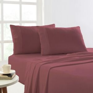 Park Avenue 175 GSM Egyptian Cotton Flannelette  Plain dyed Sheet Sets Mahogany