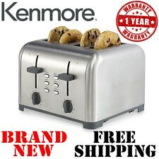 New KENMORE 4-Slice TOASTER Stainless Bread Kitchen Bagel Toast Dual Control