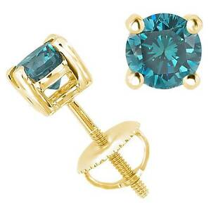 0.12CT Blue SI1-SI2 Genuine Diamond 18K Yellow Gold Men's Single Stud Earring