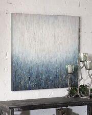 Abstract Rain Water Oil Painting | Modern Blue Textured Wall Art