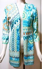 NWT $99 Chico's Open Front Aqua River Printed Cardigan Sweater, Size 1 (M 8/10)