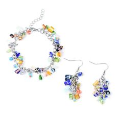 Set in Stainless Steel Hypoallergenic Multi Color Murano Bracelet and Earring