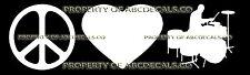PEACE LOVE DRUMMER Vinyl Wall Sticker Car Bumper Window Decal
