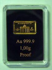 1g Motivbarren Brandenburger Tor 999,9 Feingold - Hersteller Münze Berlin