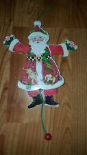 Mary Engelbreit Vintage Santa Wooden Pull String Doll ornament Peppermint Toys