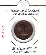 ITALIA REGNO C. 5 1937  VITTORIO EMANUELE III RAME IN ROSSO  QUASI FIOR DI CONIO