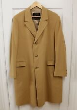 VTG Men's Long 100% Pure Cashmere Coat Overcoat Sz 40 Camel Brown USA Made
