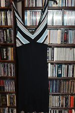 GUESS sexy knit dress Black Skirt Aqua White Diagonal stripe spag strap  L NEW