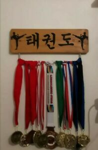 PERSONALISED GB Medal Belt hanger Display Board Karate Taekwondo (45cm Width)