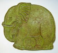 Elephant Bowl Art Pottery Mossy Green Glaze Red Clay Very Textural