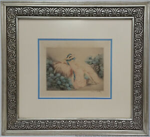 Vintage Louis Icart Etching Hydrangeas Pencil Signed Blind Stamp French