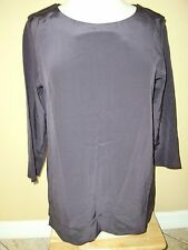 "NWT$144.00""LACOSTE""Dark Purple100%Silk Embroiled Crocodile Logo Blouse size S/38"