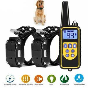 800 Yards LCD Remote Pet Trainer Waterproof Electric Shock Training Collar IP67