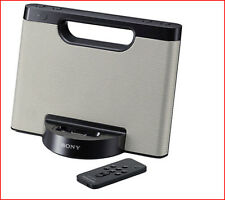 Sony COMPACT Portable SPEAKER Dock + REMOTE - RDP-M5iP iPhone iPod  Silver *NEW*