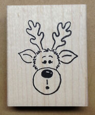 Mounted Rubber Stamps, Holiday, Christmas Stamps, Seasonal, Cute Reindeer Stamp