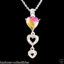 w Swarovski Crystal ~Rainbow 3 Love HEART~ Family Friends Lover pendant Necklace