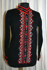 Storybook Knits Sweater Sz XS Soft Geometry Black Red Beaded Cardigan Womens
