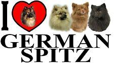 I LOVE GERMAN SPITZ Dog Car Sticker By Starprint - Ft. the German Spitz